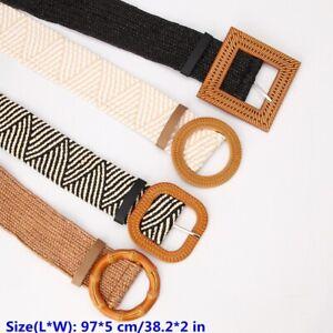 1PC Imitation Straw Woven Belt Round Square Buckle Elastic Braided Waistband