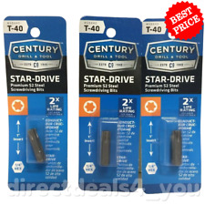 (New) CENTURY DRILL & TOOL #68440 T-40 Star-Drive  Screwdriver Bits Pack of 3