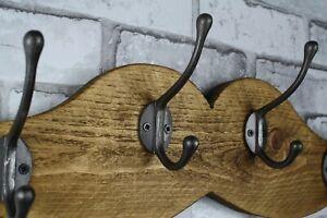 Barbers Shop Mustache Wooden Coat Rack Handmade Cast Iron Hook Coat Hooks