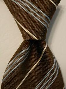 ERMENEGILDO ZEGNA Men's Silk/Cotton Necktie ITALY Luxury STRIPED Brown/Blue EUC
