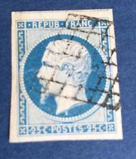 France N° 10 25 C Bleu (république Oblitère Grille Pièce. Superbe  Côté 800€