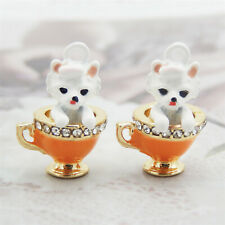 4pcs/Lot Enamel Plated Colorful Cup Dog with Crystal Pendant Charms DIY Findings