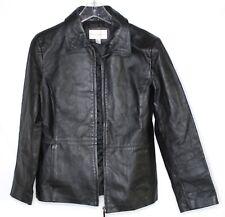 Women's Worthington Black Leather Coat zip Size Medium Jacket Pockets