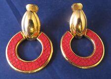 Vintage GJD Ginnie Johansen Gold Tone Red Dangle Earrings - Snake Skin Design