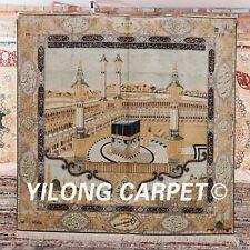 Yilong 7.2'x7.2' Muslim Prayer Handmade Silk Carpet Square PURE Area Rugs L144A