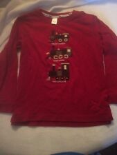 EUC Boys Janie And Jack Long Sleeves Red Embroidered Train Shirt Sz 5T