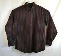 Bugatchi Uomo Long Sleeve Button Down Shirt Multicolor Striped Mens Size XL EUC