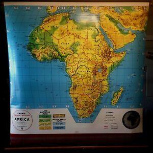 Vintage Cram's Africa Pull Down School Classroom Wall Map, George F. Cram 1985