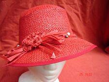 Sommercap Cap Schute luftdurchlässig Häkelblume rot Strohhut Sommercap