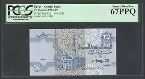 Egypt 25 Piastres 6-4-1985 P57a Uncirculated Grade 67