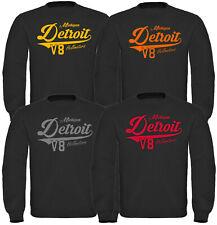 Detroit Herren Sweatshirt Pullover V8 US Car Hotrod Oldtimer Männer schwarz Hood