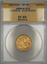 1889-M Australia Sovereign Gold Coin ANACS EF-45 Details