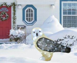 LED Christmas Owl Snow Decoration Acrylic Outdoor Plug In Garden Xmas Lights