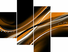 Large Abstract 4 Panel Wall Art Set Black Brown White Swirls Canvas Pictures