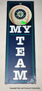 "MLB Seattle Mairiners My Team - 4"" x 13"" Wood Type Sign New!"