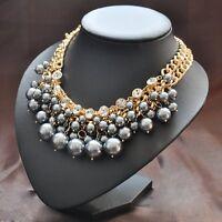 Perlen Statement Collier Kette Strass GRAU massiv Choker Ladylike Style NEU
