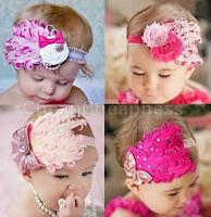 New Infant Baby Toddler Feather Flower Diamond Soft Headband Headwear Hair BevG