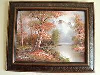 Large Wooden Framed & Signed Original Oil Painting Landscape On Board FREE P&P