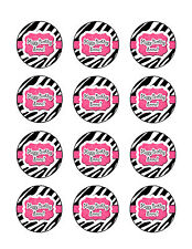 ZEBRA PRINT Edible Cupcake Toppers Frosting Sheet Cookie Image PERSONALIZED!