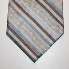 """NEW 60"""" Calvin Klein Silk Neck Tie Stone Beige w Light Blue & Brown Stripes 1367"""