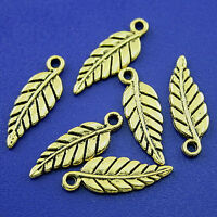 50pcs Silver tone pave leaf charms findings H0583