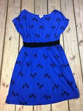 One Clothing Womens Dress Owl Blue Black Short Sleeve Size S