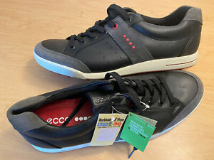 ECCO Street Retro Spikeless Golf Shoes Size 46 Black/Gray/Red US 12 NEW Cleats