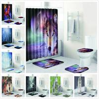 Bathroom Non-Slip Lid Pad Toilet Cover Bath Mat Animal Wolf Shower Curtain 4Pcs