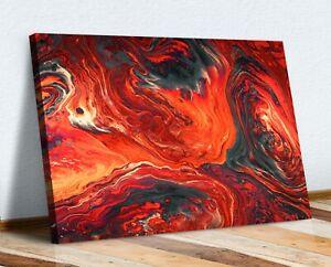 RED ORANGE RUST ABSTRACT CANVAS WALL ART 30MM DEEP FRAMED PRINT DESIGN