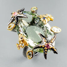 Handmade33ct+ Natural Green Amethyst 925 Sterling Silver Ring Size 8/R121982