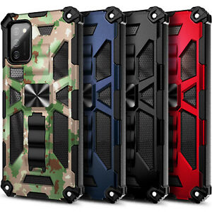 Case For Samsung Galaxy A02S Full Body Built-in Kickstand Cover + Tempered Glass