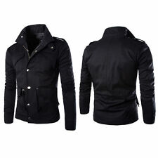 Men's Slim Fit Military Style Jacket Stand Collar Coat Zip Button Hoody Overcoat