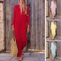 Women Boho Baggy Loose Long Sleeve V-Neck Linen Kaftan Maxi Dress Beach Dresses