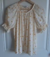 Madewell Womens Sheer French Daisies Smocked Button Up Top Blouse Size Medium