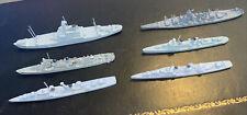 Lot of 6 Ww2 Recognition Metal Models Benson Class Battleship Service Tanker