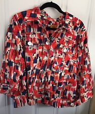 Red Womans Plus Size Shirt 18W Abstract Ruby Rd 3/4 Sleeve Top White Blue