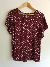 New Look maternity Size 12 short sleeve hart print summer blouse top - Burgundy