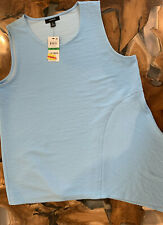 Alfani Womens Blue Textured Asymmetrical Sleeveless Top Size Large Petite New