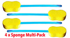 Bath Sponge with Long Flexible Handle for Back - Leg - Arm - Pack of 4
