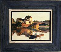 Impressionism Plein Air Landscape Scene Lake River Fisherman