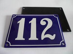 Antique French Blue  Genuine Enamel Porcelain House Door Number Sign / Plate 112