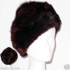 Cappello VISONE pelliccia marrone donna con pon pon colbacco tgl 57 ENTRA G091