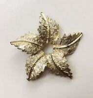 VINTAGE JEWELRY - 1960s Art Deco Revival Textured Fronds Silver Star Brooch Pin