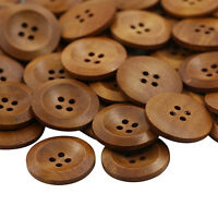 FT- 50 Pcs Wooden 4 Holes Round Wood Sewing Buttons DIY Craft Scrapbooking 25mm