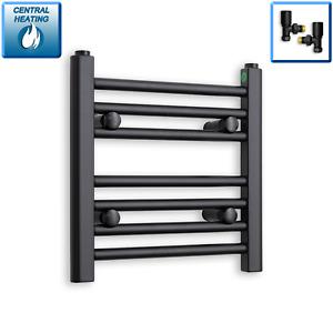 400mm Wide 400mm High Straight Black Heated Towel Rail Radiator Modern Bathroom
