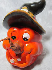 Jack o Lantern Pumpkin Witch Face Witch Hat Halloween Candle Holder Ceramic