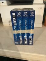 Lot of 4 Maxell Standard Grade T-120 VHS 6 Hour Blank Tapes VCR  NEW Sealed