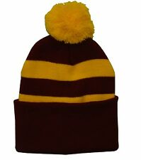 Claret and Gold Traditional Style Bobble Hat - Made in UK