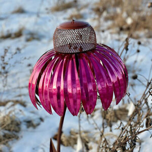 Red Standing Metal Bird Feeder with Detachable Flower Stake for Garden Art Decor