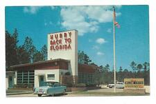 Vintage Florida Chrome Postcard Hurry Back Old Cars Welcome Station